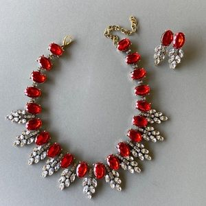 Red Crystal Statement Necklace NWT